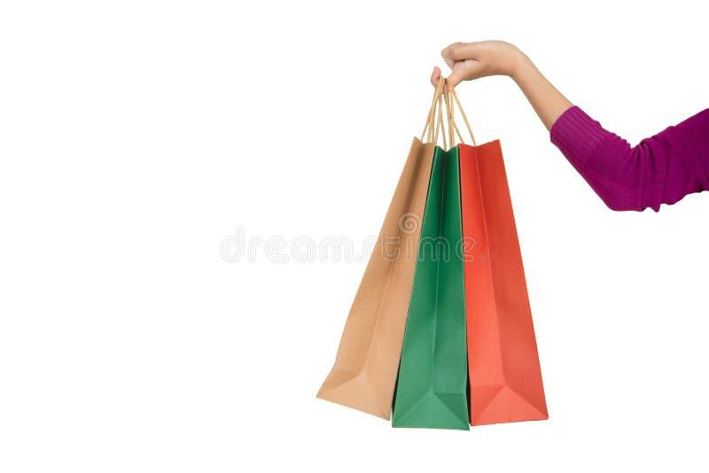 Påse för shopping för kvinnahandhåll royaltyfri foto