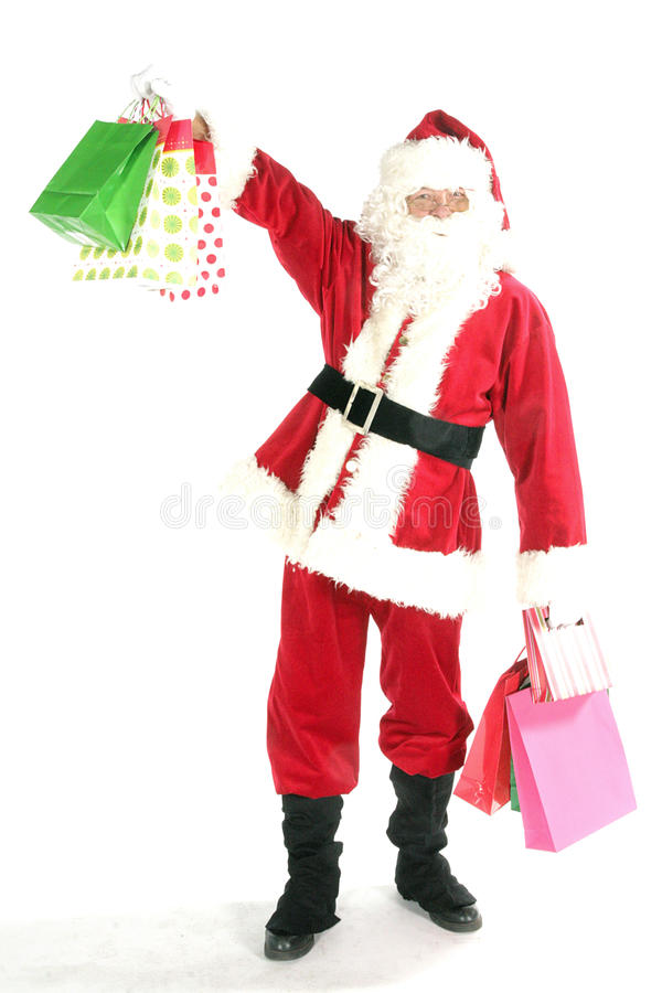 påseclaus santa shopping royaltyfri bild