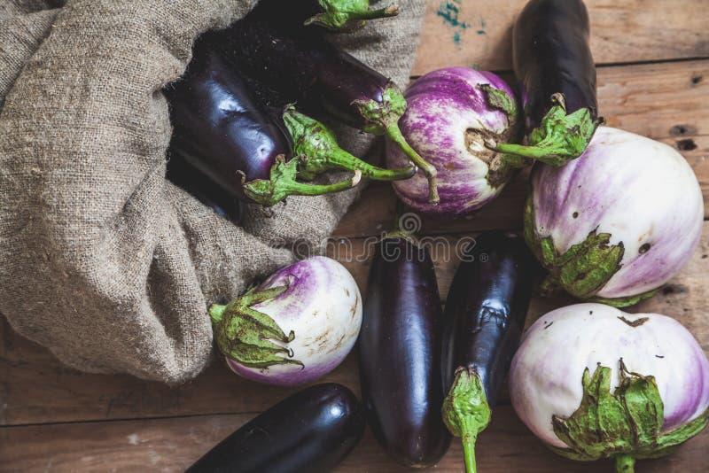 Påsen av blåa aubergine vilar på vit royaltyfri foto