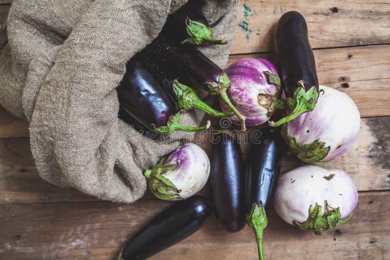 Påsen av blåa aubergine vilar på vit royaltyfri bild
