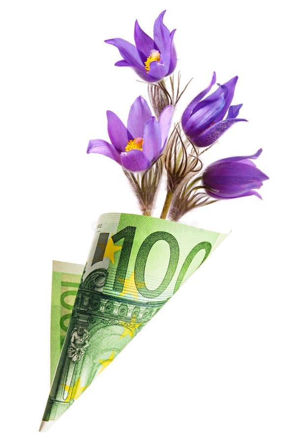 Påsen för pappers- pengar ut ur hundra euro med snödroppe blommar royaltyfri bild