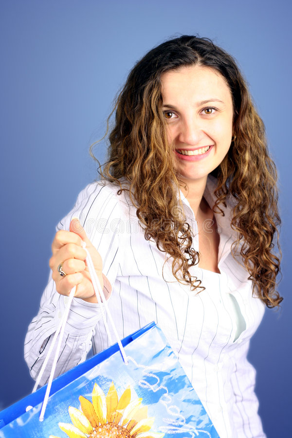 Påseshoppingkvinna Royaltyfri Foto