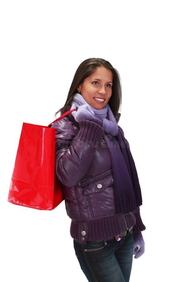 Påseshoppingkvinna Arkivfoto