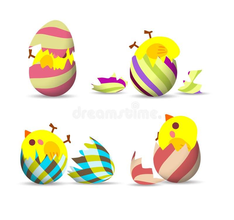 Påskägg, ägglucka stock illustrationer