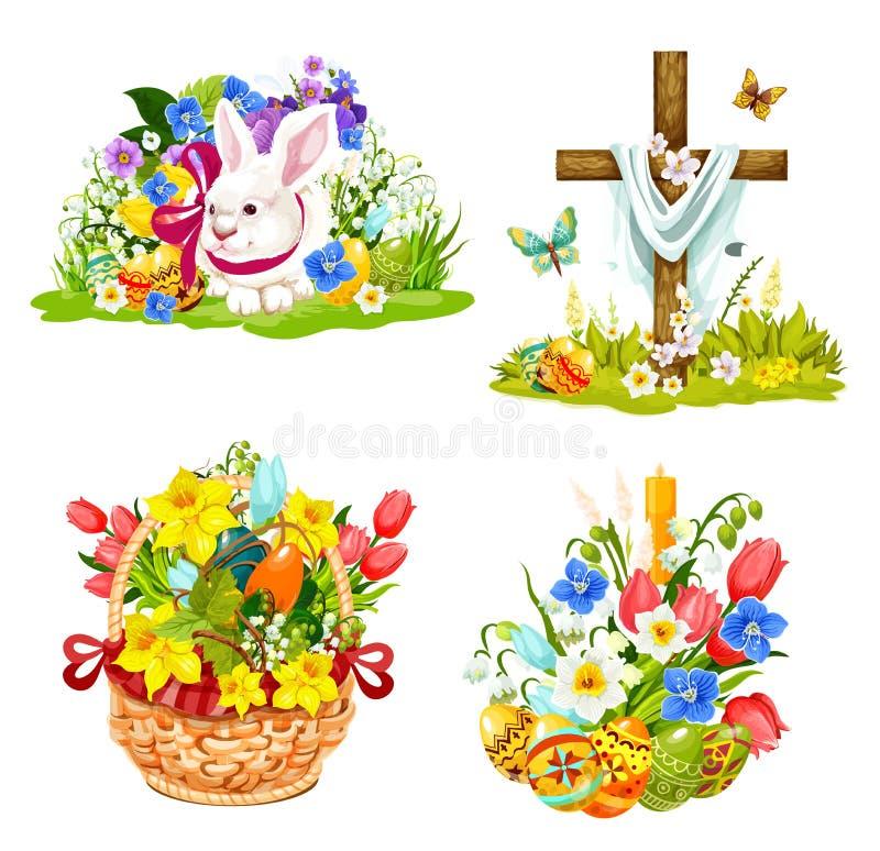Påskägg, kanin och blommor i vide- symboler royaltyfri illustrationer