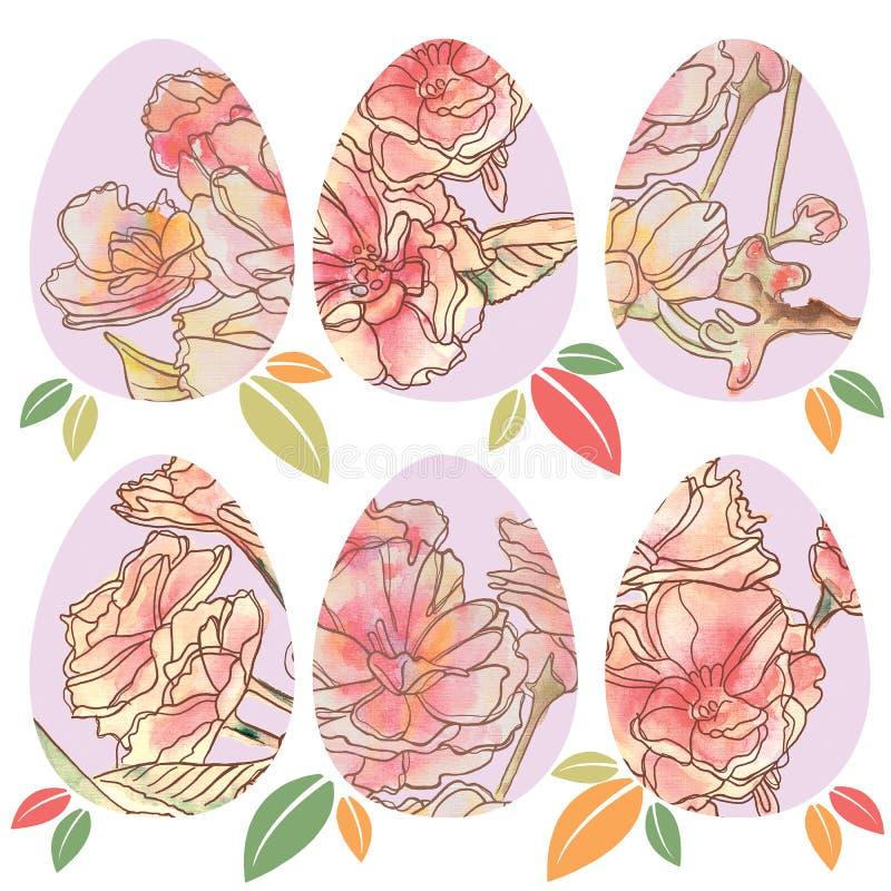 Påskägg med blom- modeller vektor illustrationer