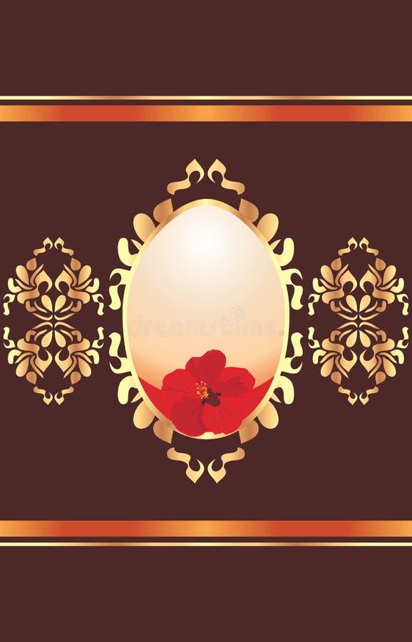 Påskägg med den röda blomman på den dekorativa glänsande bakgrunden stock illustrationer