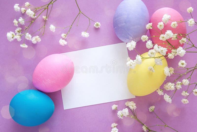 Påskägg med det tomma pappers- kortet och vita blommor på purpurfärgade lodisar royaltyfri foto