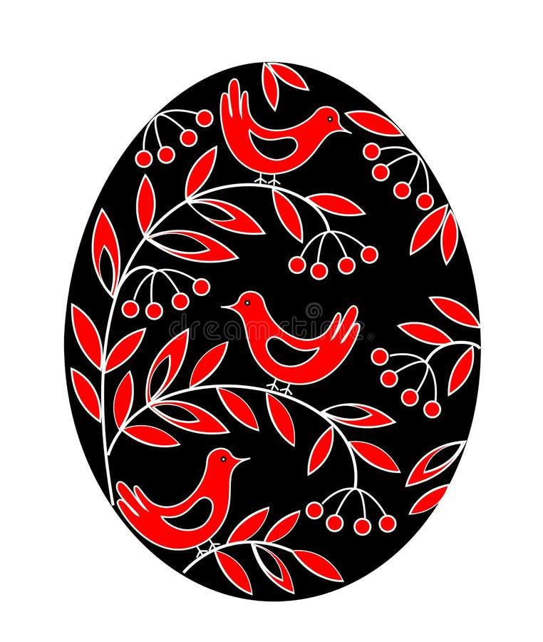 Påskägg med en målad modell Fåglar på filialer med bär och sidor Symbolet av p?sken En forntida tradition av folk royaltyfri illustrationer
