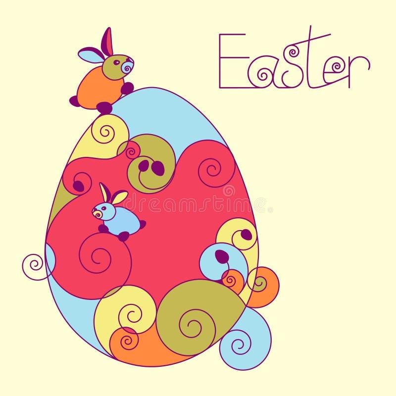 Påskägg och kaniner stock illustrationer