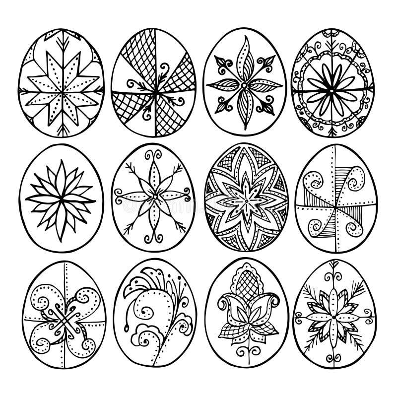 Påskägg, påsk- ägg som dekoreras med bivax - för att fira påsk Dess handgjorda klottermodeller för gammal tradition stock illustrationer