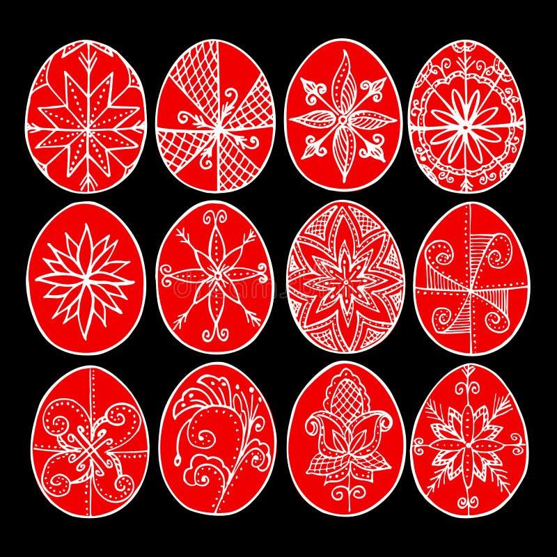 Påskägg, röda påsk- ägg som dekoreras med bivax - för att fira påsk Gammal tradition stock illustrationer