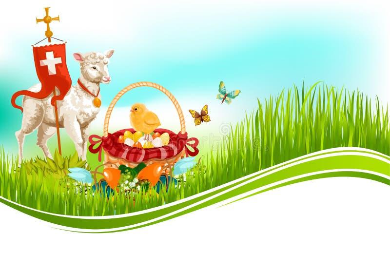 Påsk- ägg för påsk och kort för lammvektorhälsning royaltyfri illustrationer