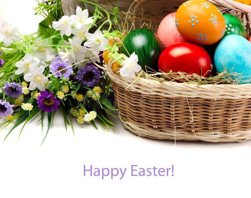 Påsk - ägg och blommor arkivfoton