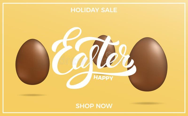 Påsk Bakgrund för påskförsäljningsbaner med ägg för påskbokstäver- och feriechoklad vektor illustrationer