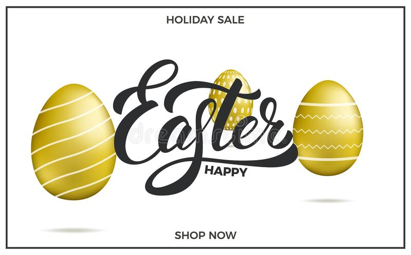 Påsk Bakgrund för påskförsäljningsbaner med guld- ägg för för påskbokstäver och ferie vektor illustrationer