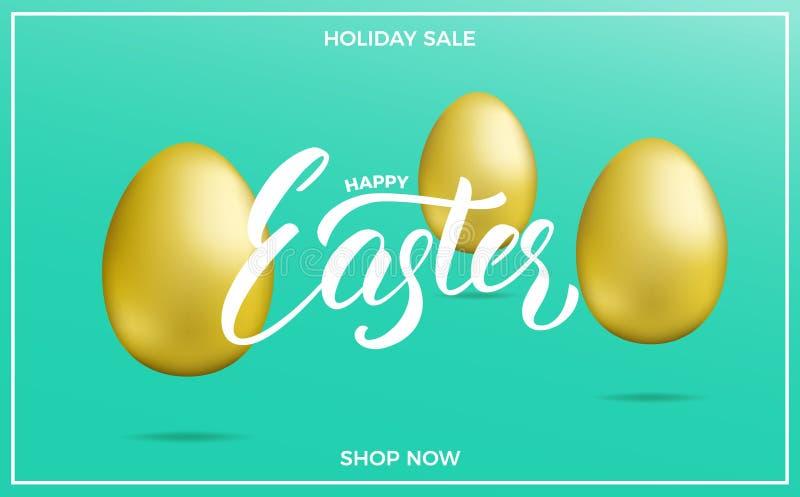 Påsk Bakgrund för påskförsäljningsbaner med guld- ägg för för påskbokstäver och ferie royaltyfri illustrationer