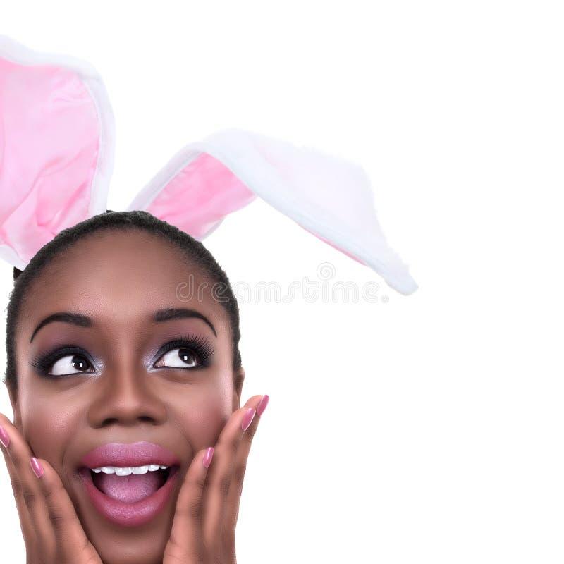 Påsk Bunny Ears Woman arkivbilder