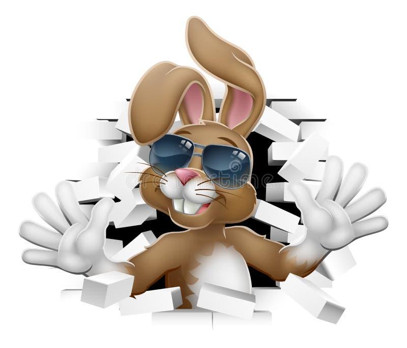 Påsk Bunny Rabbit i skuggor som kommer till och med väggen vektor illustrationer