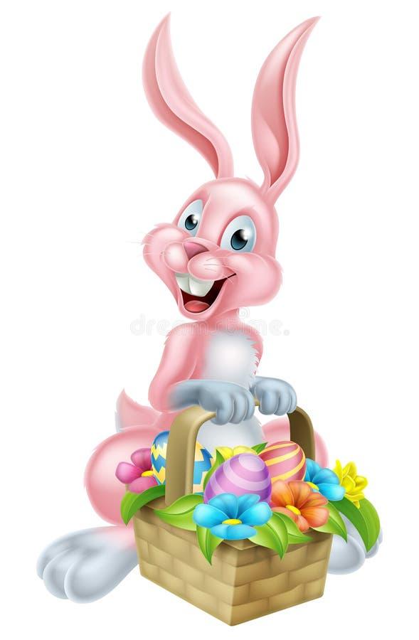 Påsk Bunny Rabbit med korgen stock illustrationer