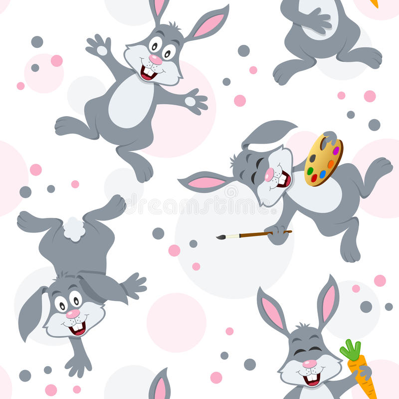 Påsk Bunny Rabbits Seamless Pattern stock illustrationer