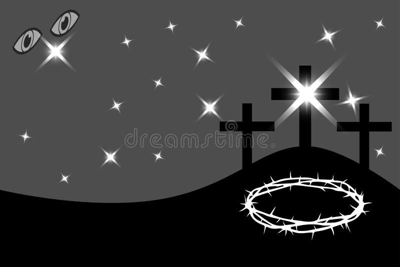 Påsk - Golgotha, tre kors, vektor illustrationer