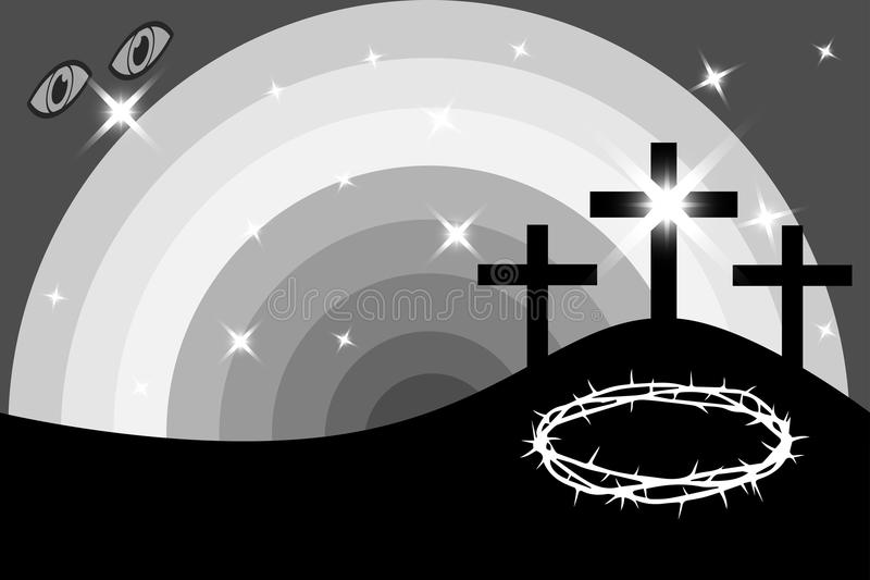 Påsk - Golgotha, tre kors, stock illustrationer