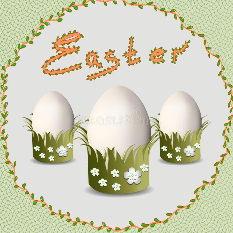 Påsk Guld- ägg över grön lutningbakgrund stock illustrationer