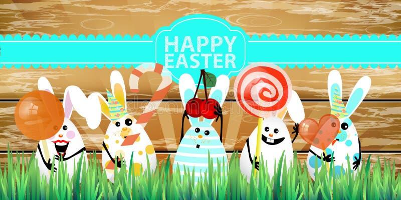 Påsk Kanin-ägg med roliga gulliga framsidor stock illustrationer