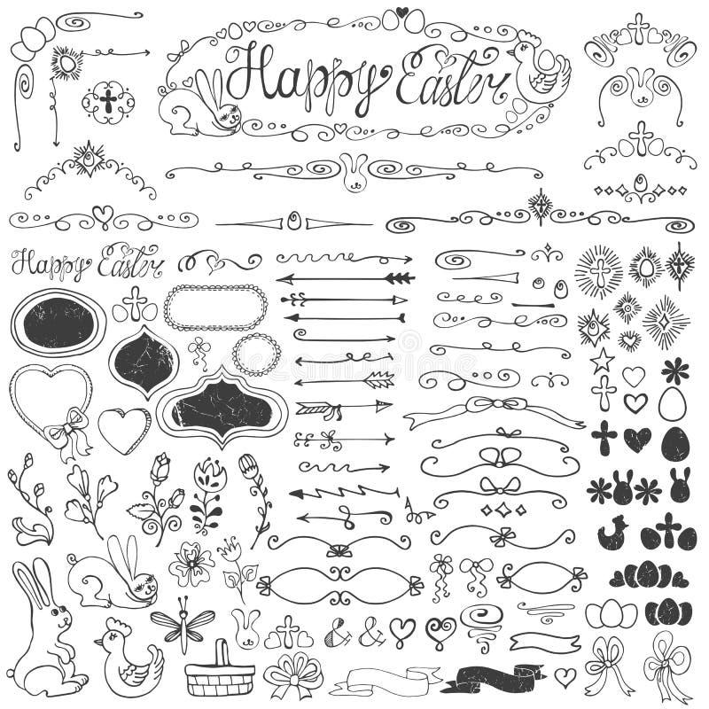 Påsk Klottret gränsar, ägget, emblem, band som är blom- vektor illustrationer