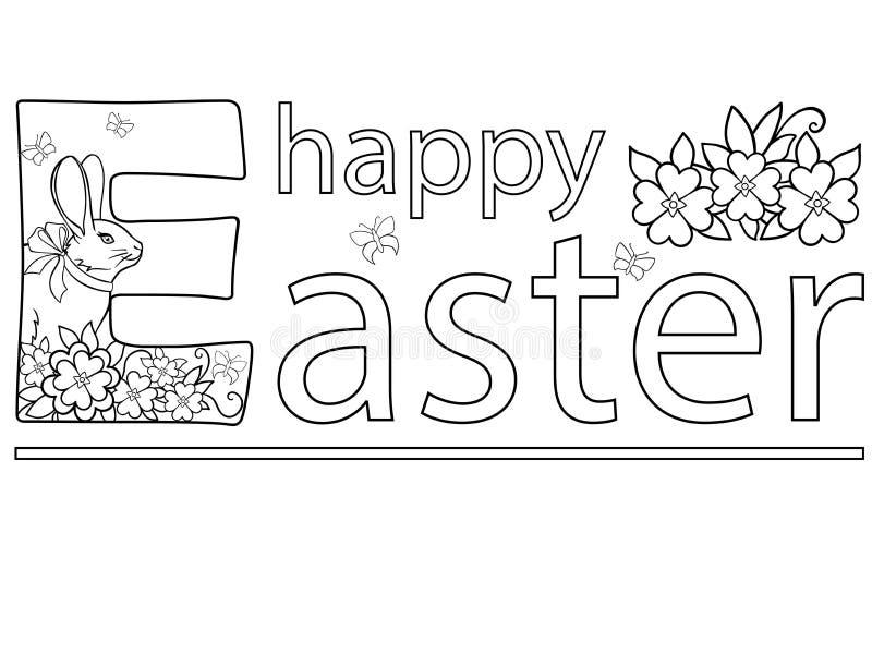 Påsk kort easter Bild för att färga Den lyckliga påsken för inskrift, blommorna, fjärilarna och påskkaninen med en pilbåge royaltyfri illustrationer