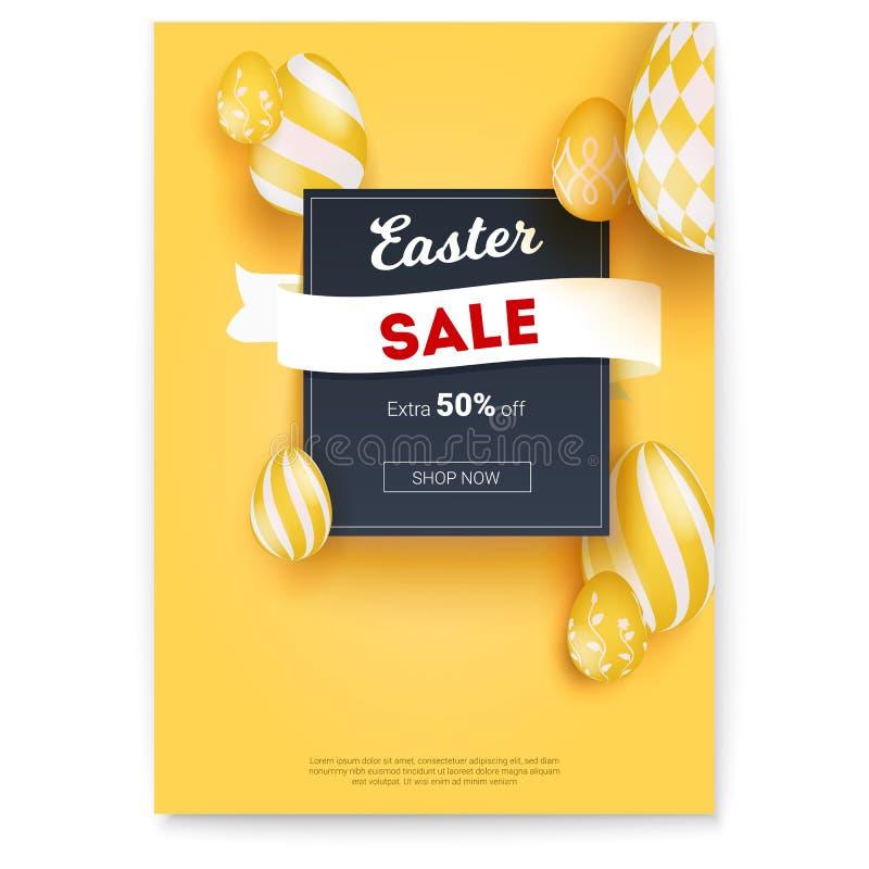 Påsk Sale Få av extra femtio procent Påskägg med handmålningmodeller på guling Affisch med ferieannonsen vektor illustrationer