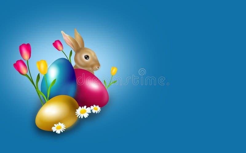 Påskbakgrund dekorerade med den easter ägg och kaninen vektor illustrationer