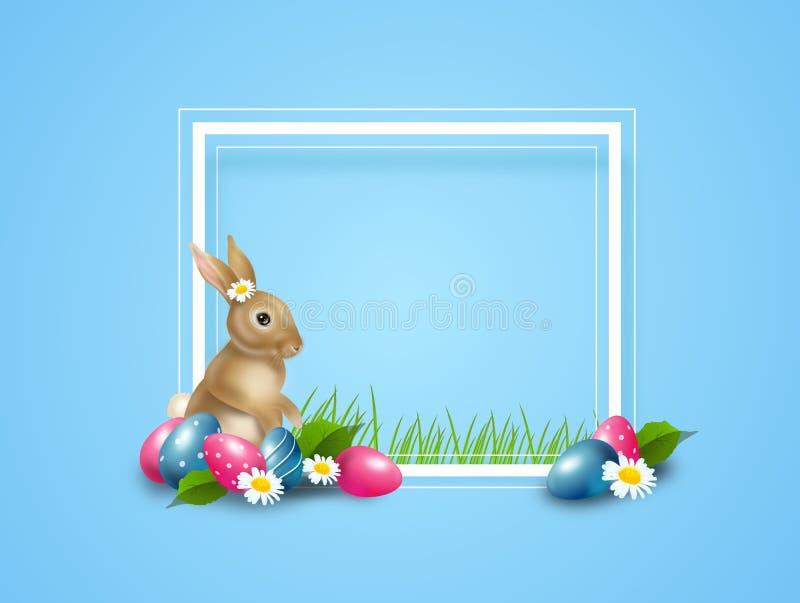 Påskbakgrund dekorerade med den easter ägg och kaninen stock illustrationer