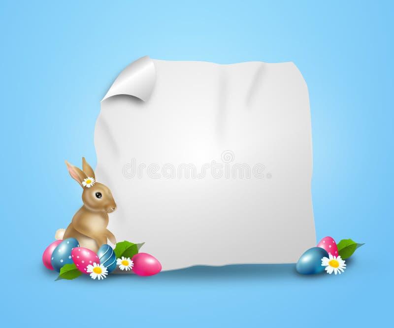 Påskbakgrund dekorerade med den easter ägg och kaninen royaltyfri illustrationer