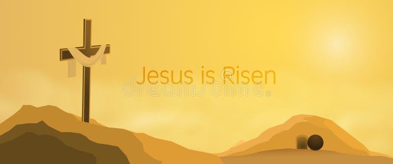 Påskbakgrund - Jesus är uppstigen royaltyfri illustrationer