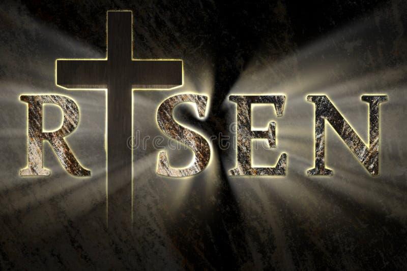 Påskbakgrund med arga Jesus Christ och skriftlig uppstigen text, inristat, snidit på stenen arkivbilder