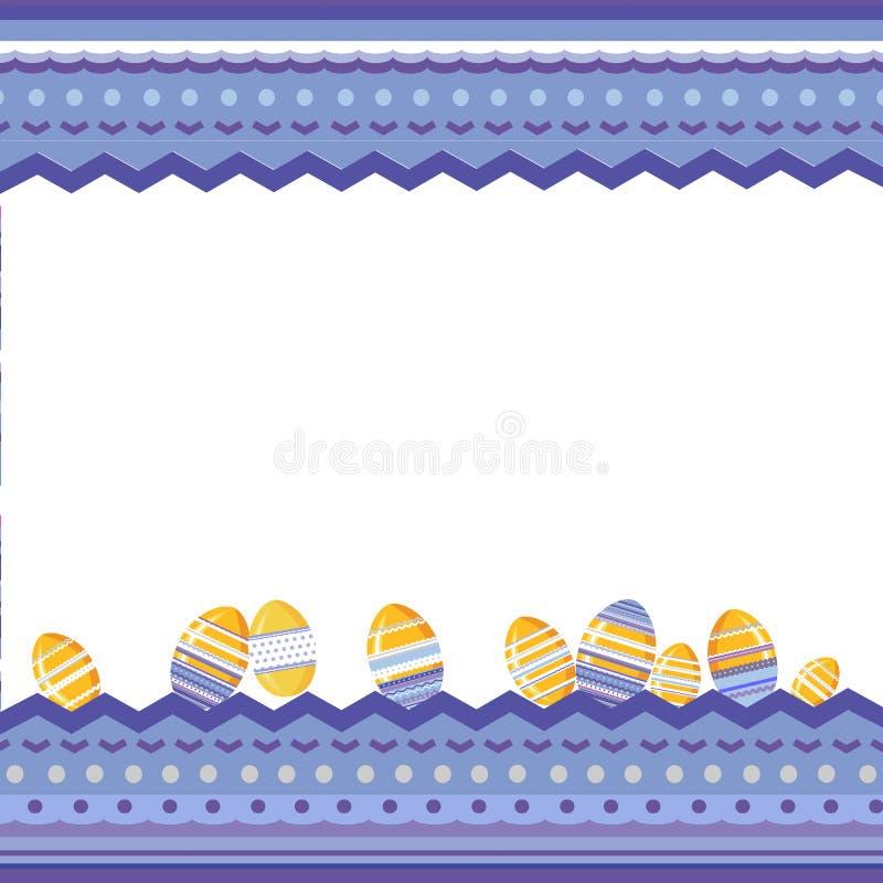 Påskbakgrund med den brokiga dekorativa ramen och ägg vektor illustrationer