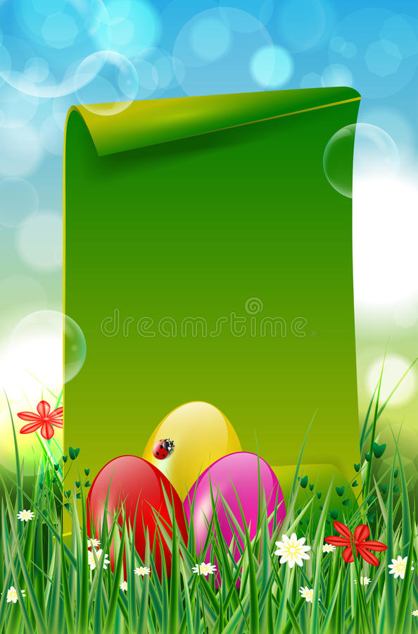 Påskbakgrund med easter ägg i gräs- och papperscopyspace vektor illustrationer
