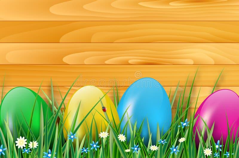Påskbakgrund med easter ägg, träplankor och gräs royaltyfri illustrationer