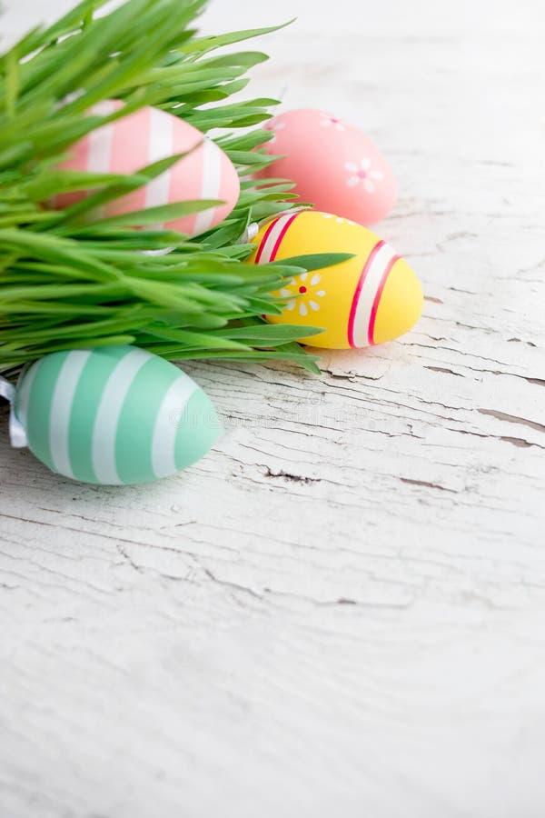 Påskbakgrund med målade färgrika ägg i grönt gräs på w arkivbild