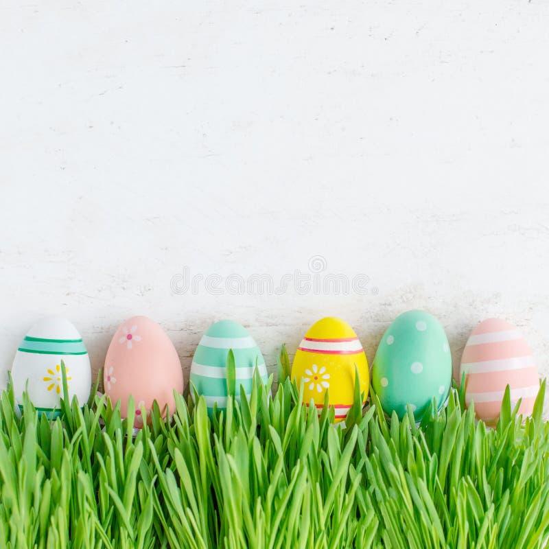 Påskbakgrund med påskägg och nytt grönt gräs överkant VI royaltyfri foto