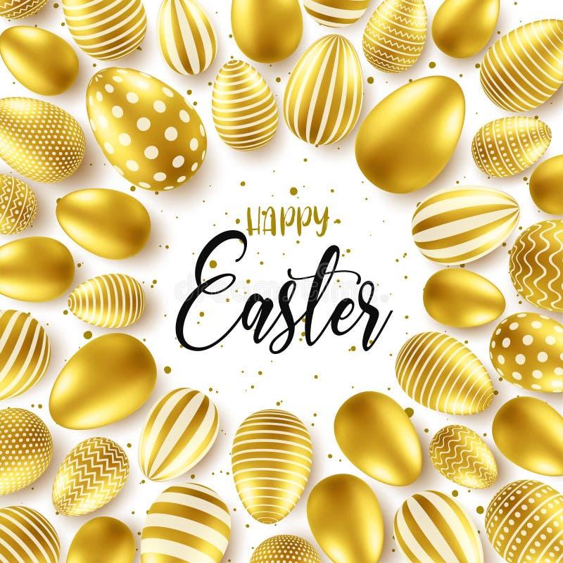 Påskbakgrund med realistiska guld- ägg Våräggjakt Lyckligt feriehälsningkort med textbokstäver royaltyfri illustrationer