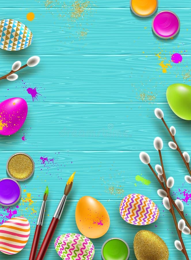 Påskbakgrund med utrymme för att hälsa eller meddelande Pussy-pilen filialer, målarfärg dekorerade mångfärgade ägg royaltyfri illustrationer