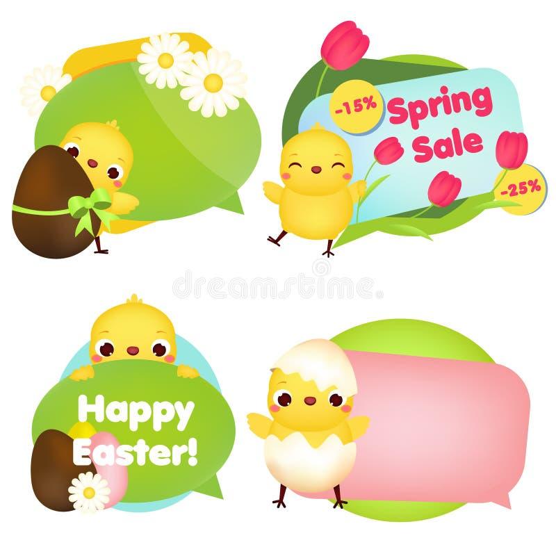 Påskbanersamling Gulliga tecknad filmfågelungar med blommor, ägg och andra symboler för påskförsäljning, beröm och annan design stock illustrationer
