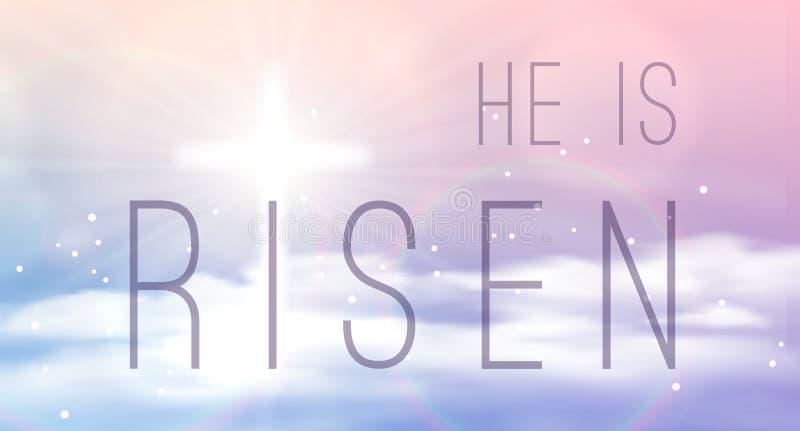 Påskbanret med text 'är han det uppstigna' glänsande korset och himmel med vita moln vektor illustrationer