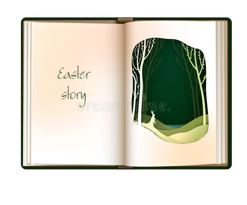 Påskberättelsebegreppet, tom boksida för tappning ser som skog med easter kanin, easter kortdesign, vektor illustrationer