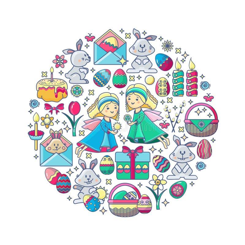 Påskbeståndsdelar som ordnas i cirkel Vektorängel, gåva, ägg royaltyfri illustrationer