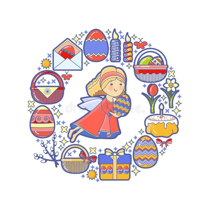 Påskbeståndsdelar som ordnas i cirkel Vektorängel, gåva, ägg stock illustrationer