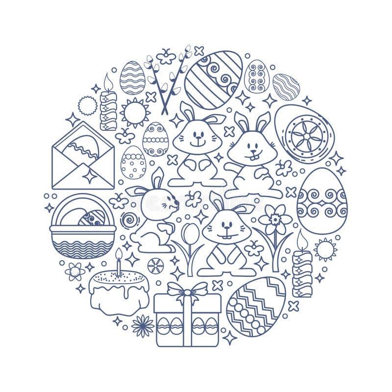 Påskbeståndsdelar som ordnas i cirkel Vektorkanin, gåva, ägg royaltyfri illustrationer